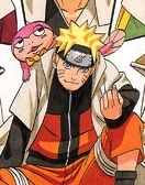 Naruto and the pink tadpole  mascotte on the cover of 'Naruto' Vol. 49
